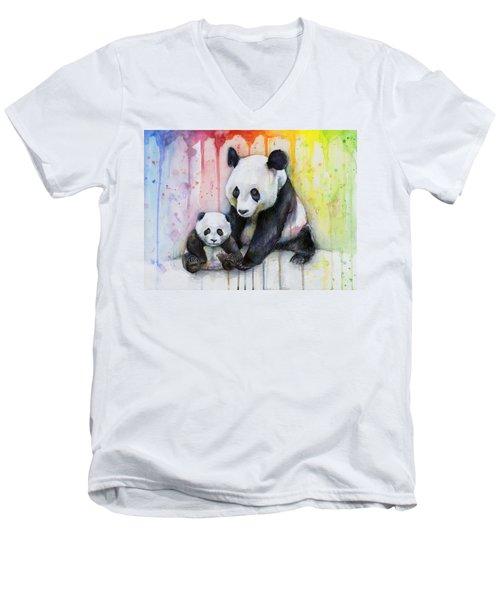 Panda Watercolor Mom And Baby Men's V-Neck T-Shirt by Olga Shvartsur