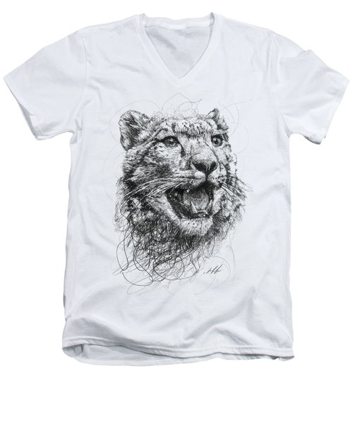 Leopard Men's V-Neck T-Shirt by Michael  Volpicelli