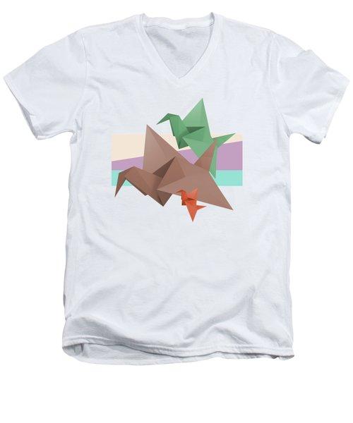 Paper Cranes Men's V-Neck T-Shirt by Absentis Designs