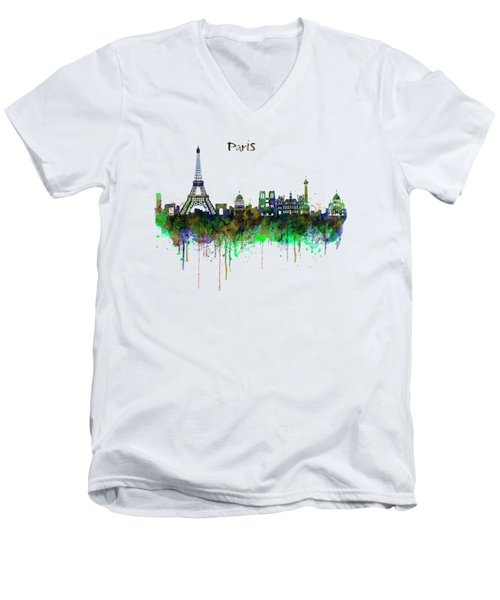 Paris Skyline Watercolor Men's V-Neck T-Shirt by Marian Voicu