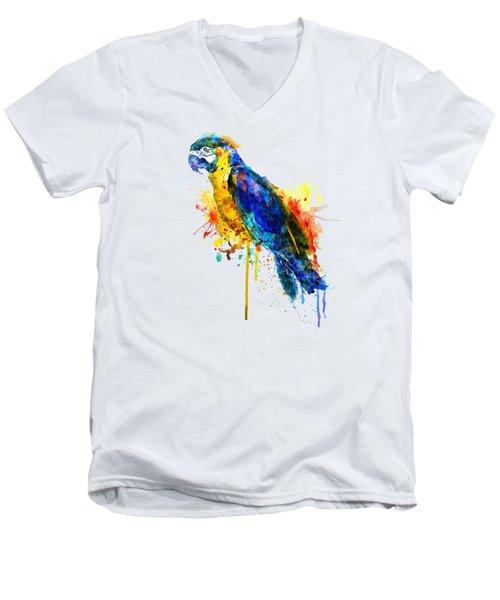 Parrot Watercolor  Men's V-Neck T-Shirt by Marian Voicu