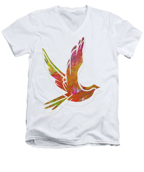 Part Of Peace Dove Men's V-Neck T-Shirt by Priscilla Wolfe