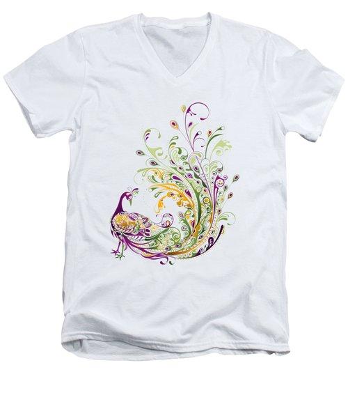 Peacock Men's V-Neck T-Shirt by Bekare Creative