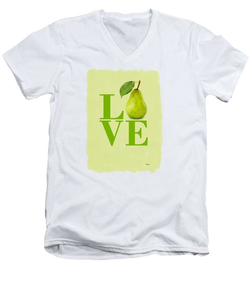 Pear Men's V-Neck T-Shirt by Mark Rogan