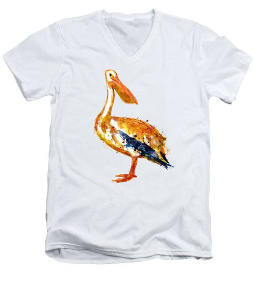 Pelican Watercolor Painting Men's V-Neck T-Shirt by Marian Voicu