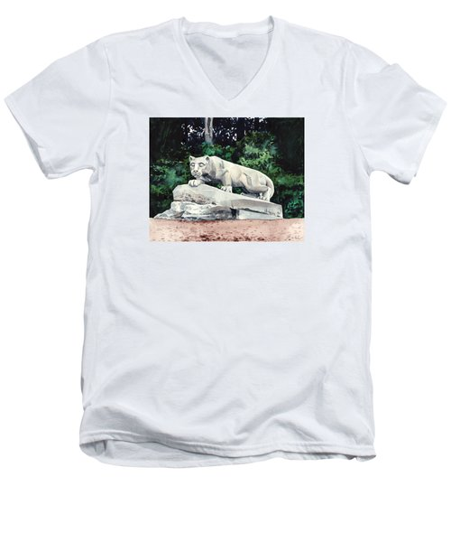 Penn State Nittany Lion Shrine University Happy Valley Joe Paterno Men's V-Neck T-Shirt by Laura Row