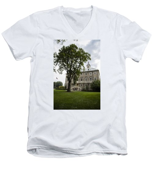 Penn State Old Main From Side  Men's V-Neck T-Shirt by John McGraw