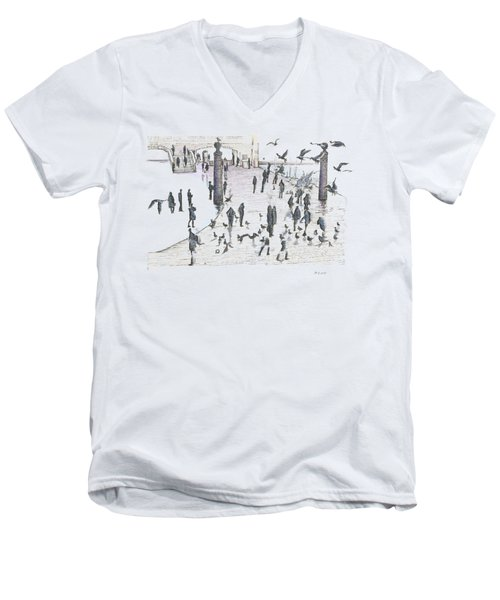 People And Birds, 19 December, 2015 Men's V-Neck T-Shirt by Tatiana Chernyavskaya