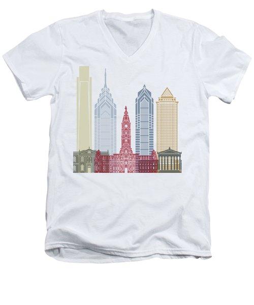 Philadelphia Skyline Poster Men's V-Neck T-Shirt by Pablo Romero
