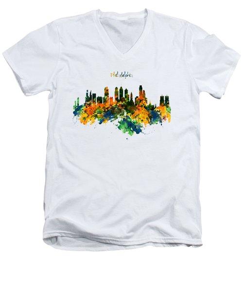 Philadelphia Watercolor Skyline Men's V-Neck T-Shirt by Marian Voicu