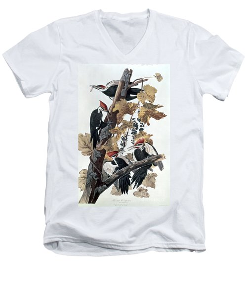 Pileated Woodpeckers Men's V-Neck T-Shirt by John James Audubon