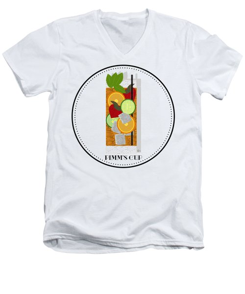 Pimm's Cup Cocktail In Art Deco  Men's V-Neck T-Shirt by Cecely Bloom