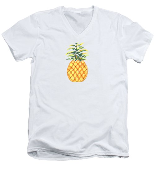 Pineapple Men's V-Neck T-Shirt by Kathleen Sartoris