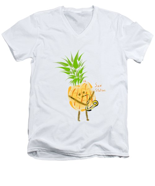 Pineapple Playing Saxophone Men's V-Neck T-Shirt by Neal Battaglia