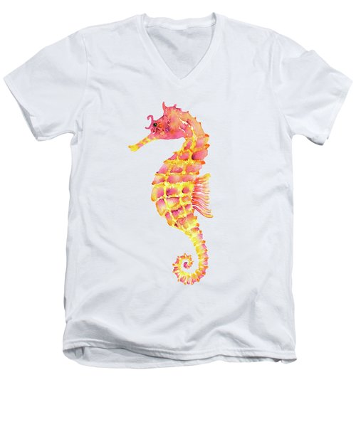 Pink Yellow Seahorse - Square Men's V-Neck T-Shirt by Amy Kirkpatrick