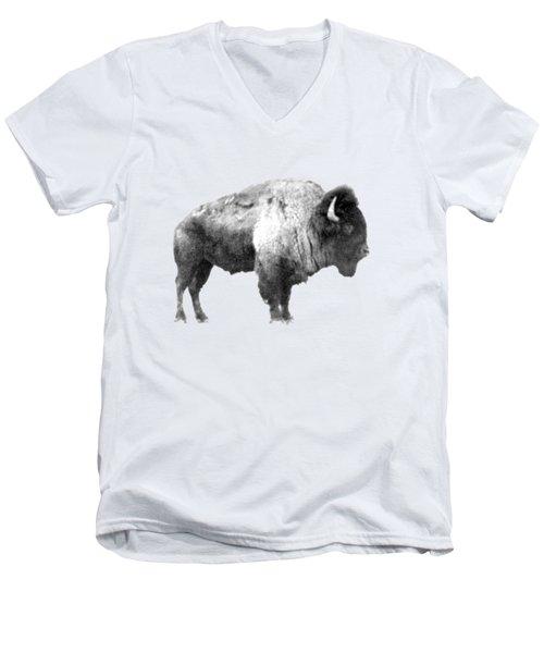 Plains Bison Men's V-Neck T-Shirt by Jim Sauchyn