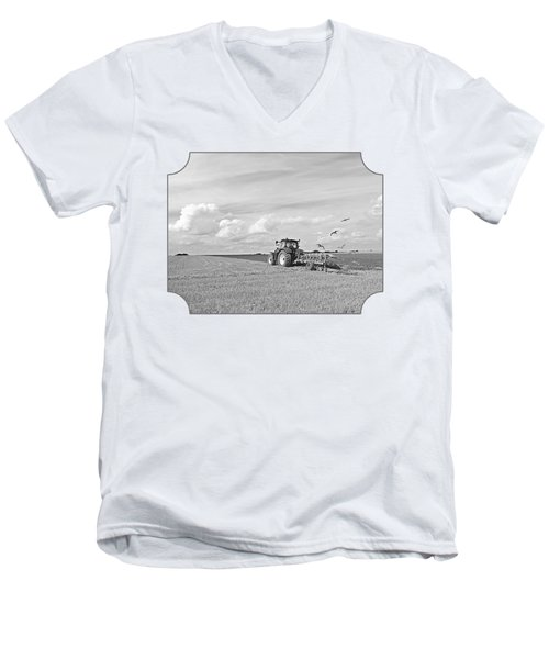 Ploughing After The Harvest In Black And White Men's V-Neck T-Shirt by Gill Billington