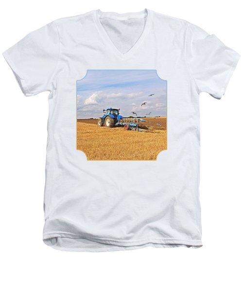 Ploughing After The Harvest - Square Men's V-Neck T-Shirt by Gill Billington