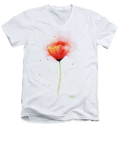 Poppy Watercolor Red Abstract Flower Men's V-Neck T-Shirt by Olga Shvartsur