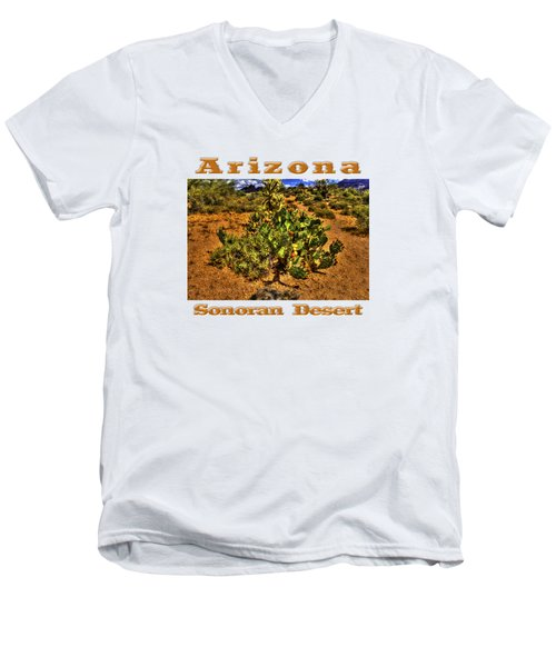 Prickly Pear In Bloom With Brittlebush And Cholla For Company Men's V-Neck T-Shirt by Roger Passman