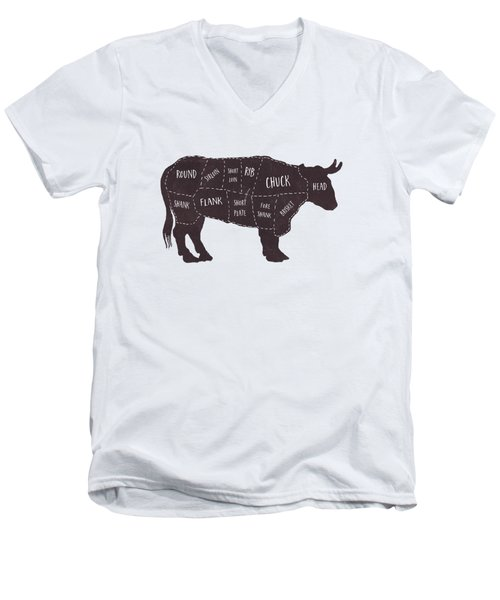 Primitive Butcher Shop Beef Cuts Chart T-shirt Men's V-Neck T-Shirt by Edward Fielding
