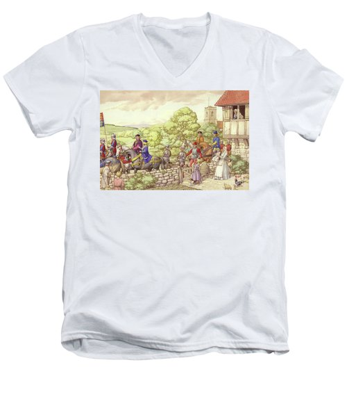 Prince Edward Riding From Ludlow To London Men's V-Neck T-Shirt by Pat Nicolle