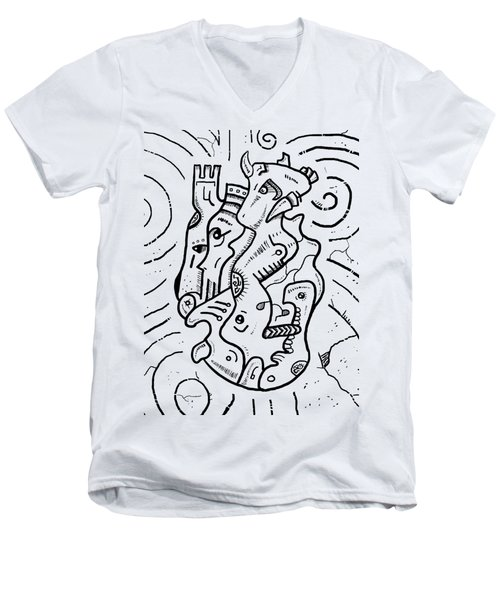 Psychedelic Animals Men's V-Neck T-Shirt by Sotuland Art