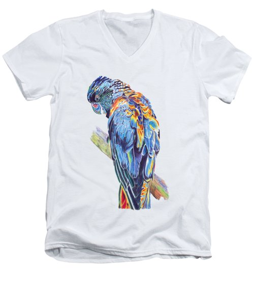 Psychedelic Parrot Men's V-Neck T-Shirt by Lorraine Kelly