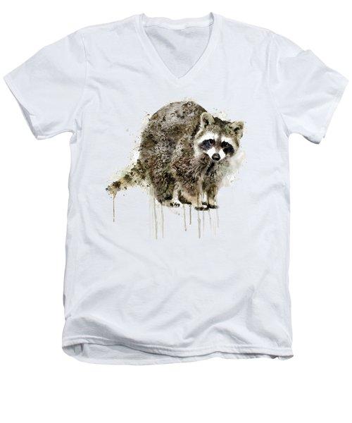 Raccoon Men's V-Neck T-Shirt by Marian Voicu