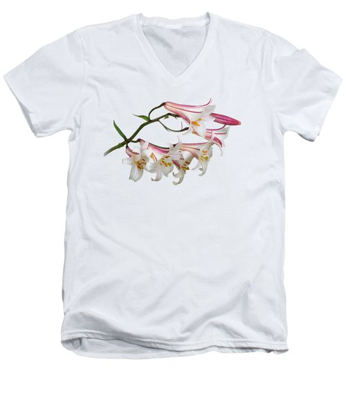 Radiant Lilies Men's V-Neck T-Shirt by Gill Billington
