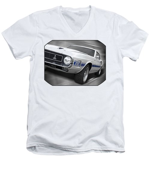 Rain Won't Spoil My Fun - 1969 Shelby Gt500 Mustang Men's V-Neck T-Shirt by Gill Billington