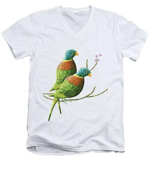 Rainbow Lorikeet Of Australia B Men's V-Neck T-Shirt by Thecla Correya