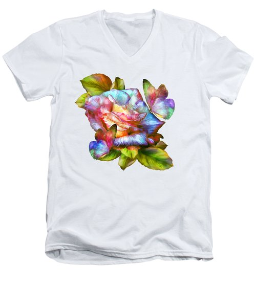 Rainbow Rose And Butterflies Men's V-Neck T-Shirt by Carol Cavalaris