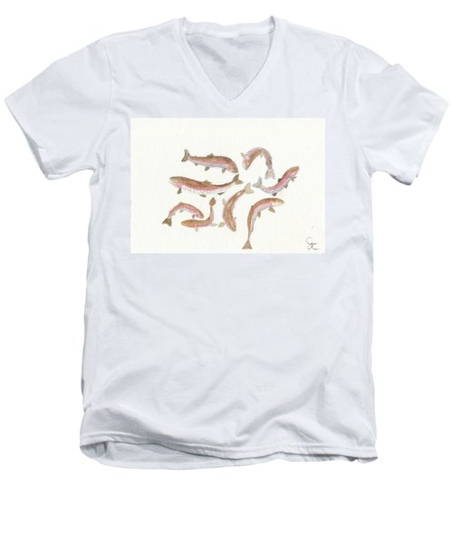 Rainbow Trout Men's V-Neck T-Shirt by Gareth Coombs