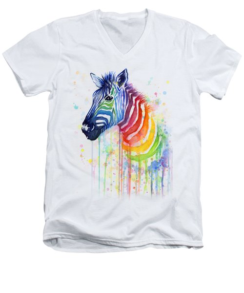 Rainbow Zebra - Ode To Fruit Stripes Men's V-Neck T-Shirt by Olga Shvartsur