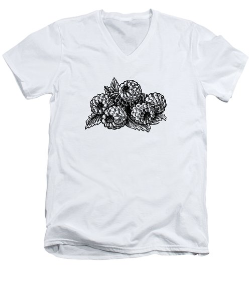 Raspberries Image Men's V-Neck T-Shirt by Irina Sztukowski
