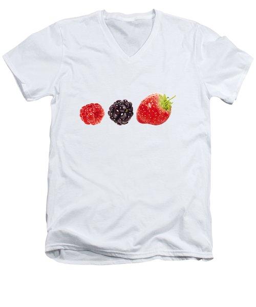 Raspberry, Blackberry And Strawberry In Watercolor Men's V-Neck T-Shirt by Kathleen Skinner