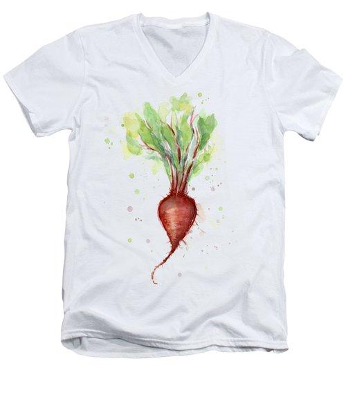 Red Beet Watercolor Men's V-Neck T-Shirt by Olga Shvartsur
