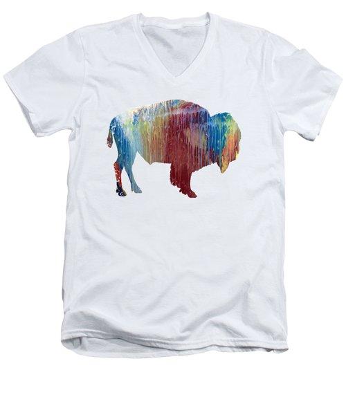 Red Bison Men's V-Neck T-Shirt by Mordax Furittus