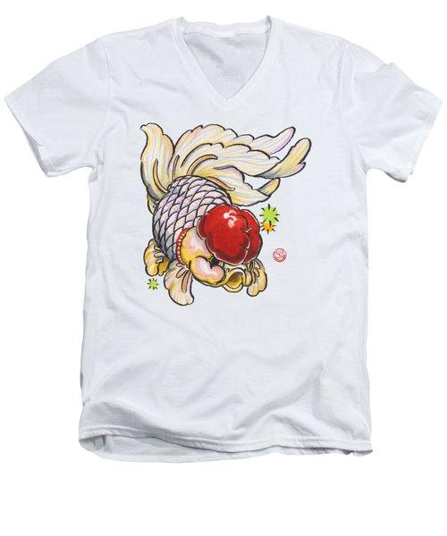 Red Cap Mixed Ranchu Men's V-Neck T-Shirt by Shih Chang Yang