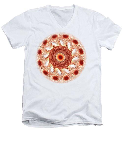Red Circle Men's V-Neck T-Shirt by Anastasiya Malakhova