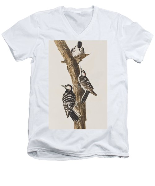 Red-cockaded Woodpecker Men's V-Neck T-Shirt by John James Audubon