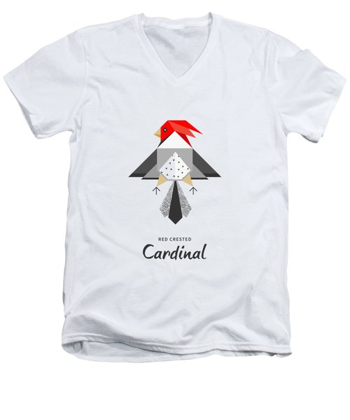 Red-crested Cardinal Minimalist Men's V-Neck T-Shirt by BONB Creative