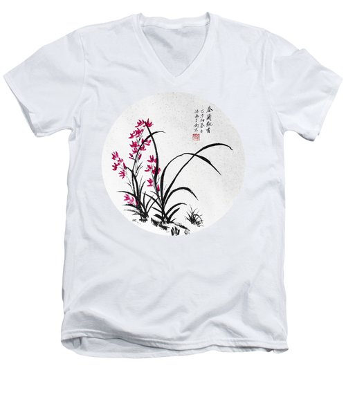 Red Iris - Round Men's V-Neck T-Shirt by Birgit Moldenhauer