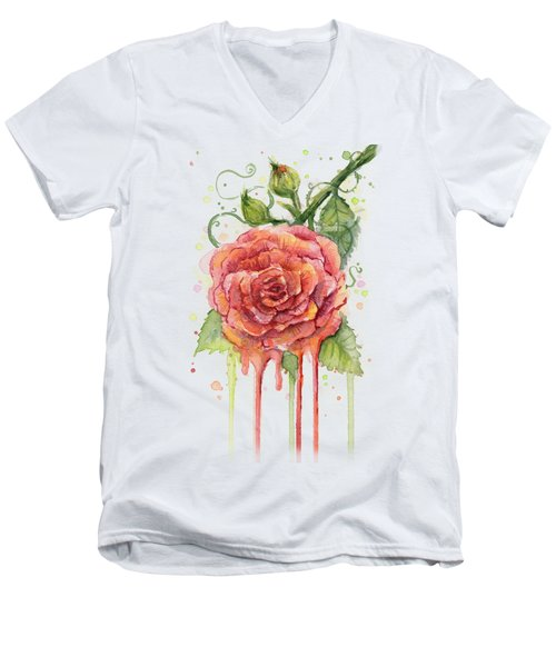 Red Rose Dripping Watercolor  Men's V-Neck T-Shirt by Olga Shvartsur