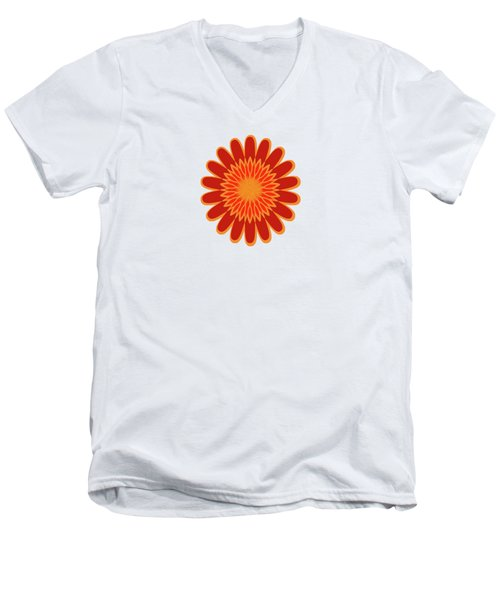 Red Sunflower Pattern Men's V-Neck T-Shirt by Methune Hively