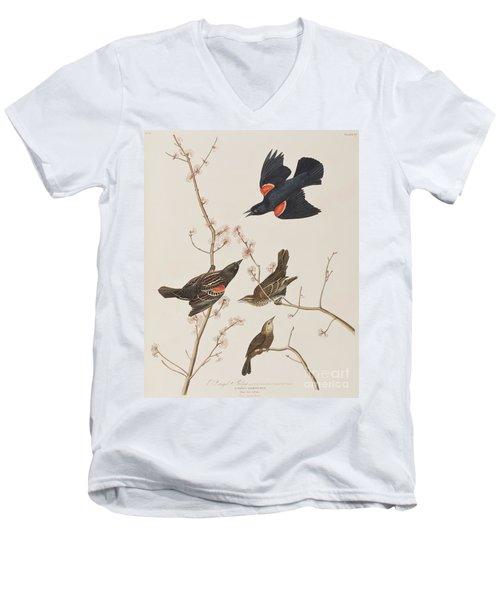 Red Winged Starling Or Marsh Blackbird Men's V-Neck T-Shirt by John James Audubon