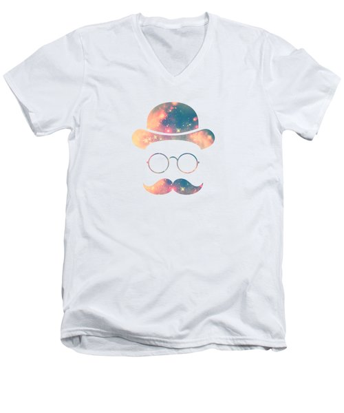 Retro Face With Moustache And Glasses  Universe  Galaxy Hipster In Gold Men's V-Neck T-Shirt by Philipp Rietz