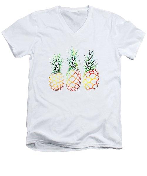Retro Pineapples Men's V-Neck T-Shirt by Sam Nagel