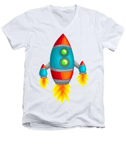 Retro Rocket Men's V-Neck T-Shirt by Brian Kemper